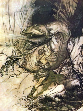 Sigurd/Siegfried killing the dragon Fafnir (Arthur Rackham/Wikimedia Commons)